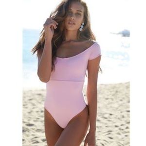 KAOHS baby pink shorts sleeves one piece swimsuit